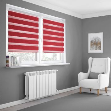 Red Day and Night Blinds Made To Measure in Pepper